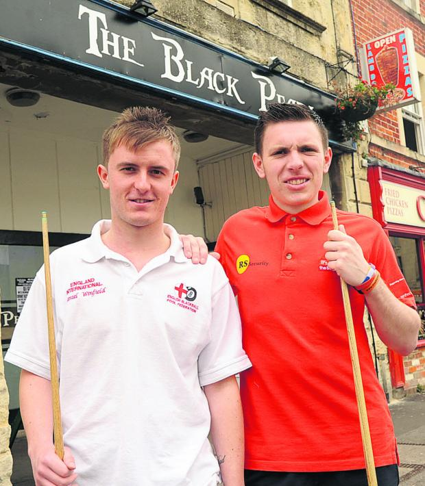 This Is Wiltshire: Daniel Winfield and Danny Tallentire, who have both selected for England pool team outside the Black Pearl in Trowbridge, where they practice