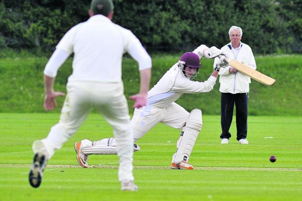 This Is Wiltshire: Daniel Gill batting for Westbury during their two-wicket defeat by Rockhampton on Saturday