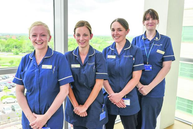 This Is Wiltshire: Prospect Nurses working at the Great Western Hospital. Pictured, left to right, are Lynne Coyne, Laura Kent, Ruth Alderton, Petrena Heffernan
