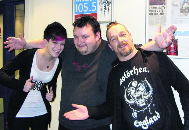 "This Is Wiltshire: DJ Tom ""Himself"" Humber, centre, who died of a heart attack aged 32 pictured with two musicians in the studio at Swindon 105.5"