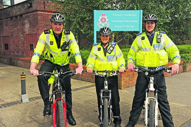 This Is Wiltshire: Sergeant Jim Suter, PCSO Maria Badder and PCSO James Bates on their bikes