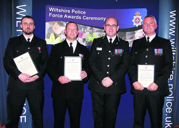 This Is Wiltshire: PC Mark Jenkins, PC Frank Cavill and PC Paul Bridger receive their awards from Chief Constable Pat Geenty