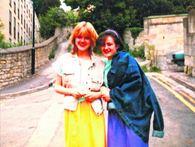 This Is Wiltshire: This picture issued by police shows Susie Lecomber, right, now aged 47, with best friend Melanie Road in Lansdown, Bath, in 1983 - a year before 17-year-old Melanie was killed on June 9, 1984