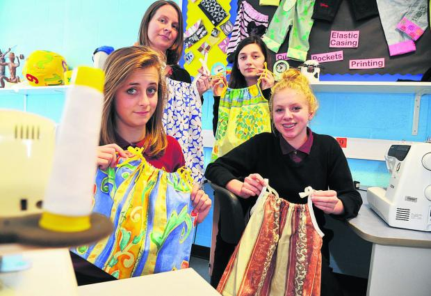 This Is Wiltshire: At the sewing class, from left, Nichole Jefferies, Anne Tregenna, Emily Munn and Lucy Heard. Picture: DAVE COX