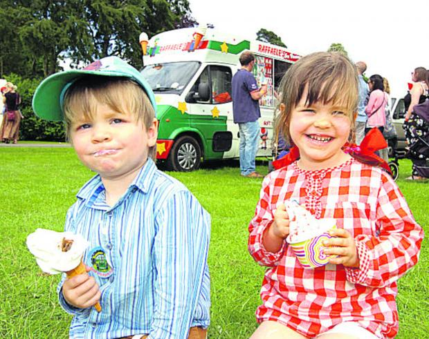 This Is Wiltshire: Magnus and Pippa enjoy their ice-cream at Bowood Dog Show