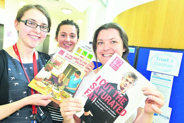 This Is Wiltshire: Launch event of Dietitians week at GWH . Pictured are Rachel Bowyer, Sadie Herbert and Lindsey Ratledge. Picture: THOMAS KELSEY
