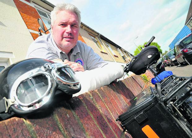 This Is Wiltshire: Steve Lewis, who is recovering after his bike accident