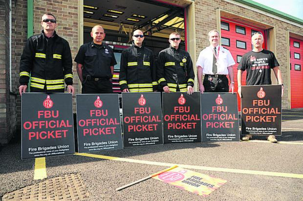 This Is Wiltshire: Striking firefighters today