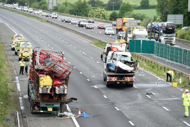 This Is Wiltshire: The aftermath of the crash scene on the M4 on Monday morning