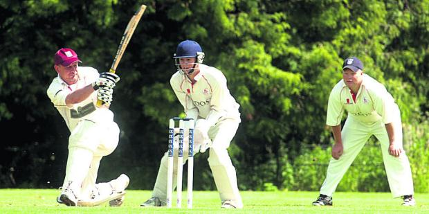 This Is Wiltshire: Bradford on Avon's Nick Gerrish is trapped leg before by Urchfont bowler Keith Bills during his side's defeat in Division One on Saturday