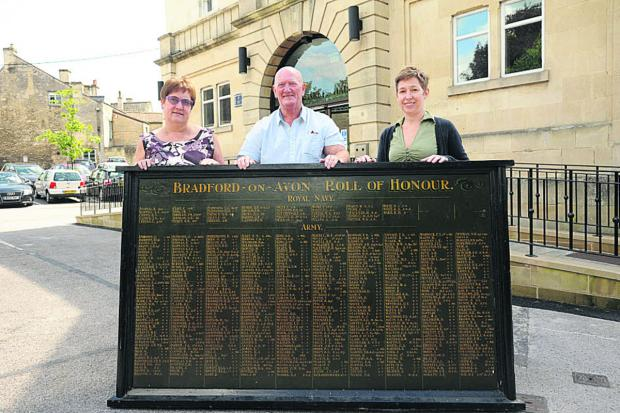 This Is Wiltshire: Bradford on Avon town clerk Sandra Bartlett, Councillor Laurie Brown and deputy town clerk Emma Windsor with the town's Roll of Honour