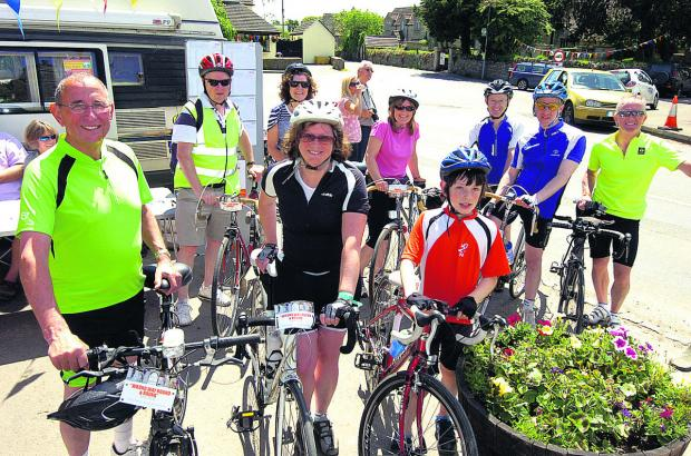 "This Is Wiltshire: Fred Hayward and  Pam Rawlins, front left, with fellow riders ready to get  going ""the wrong way""         (pM1186) By Paul Morris"