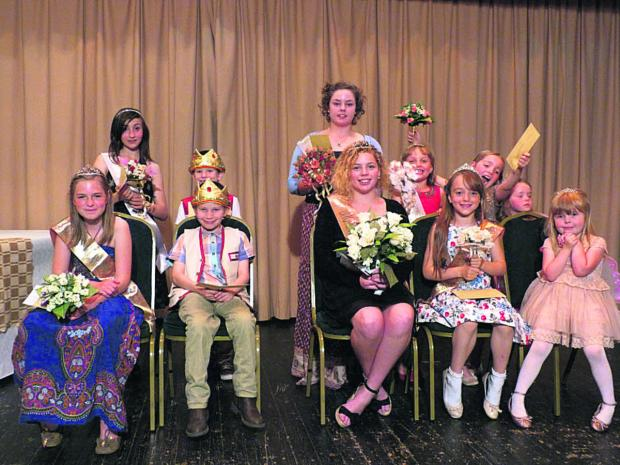 This Is Wiltshire: Royalty for 2014 are fairy princess Kaitlin Johnson, four, and attendant Corinne Smart, four; princess Emily Nicholls, nine, and attendants Laura Begent, eight, and Ruby Smart, seven; prince Matthew Miller, nine, and attendant Joshua Miller, seven; butter