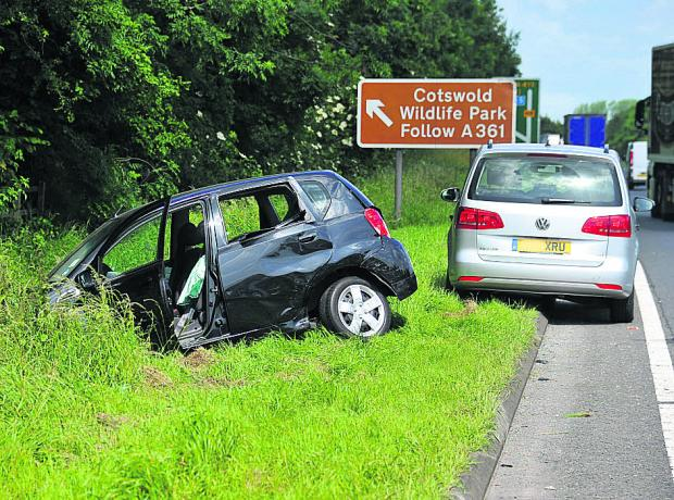 This Is Wiltshire: The crash scene on the A419
