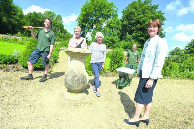 This Is Wiltshire: Lydiard Park is looking for new volunteers for the gardens. Pictured are Ben Williams, Nicky Heath, Jane Lane, Andy Dyer and Caroline Palmer