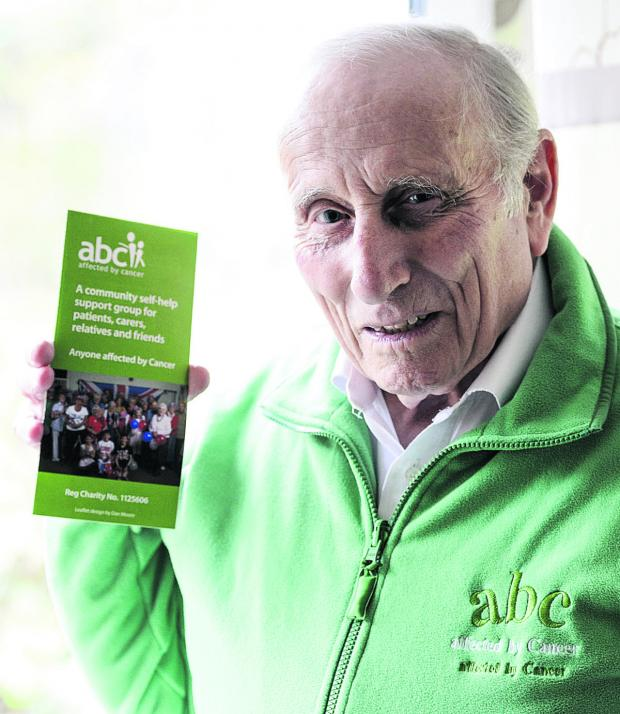 This Is Wiltshire: MBE recipient Alan Nix, who is a  trustee for support Group ABC. He is pictured during an appeal for people to donate money to the radiotherapy unit earlier this year