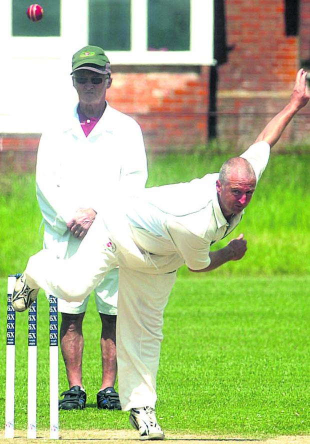 This Is Wiltshire: All Cannings' Graham Mansell bowls during his side's 46-run defeat to Spye Park in Division Two on Saturday Pictures by Paul Morris (PM1302)
