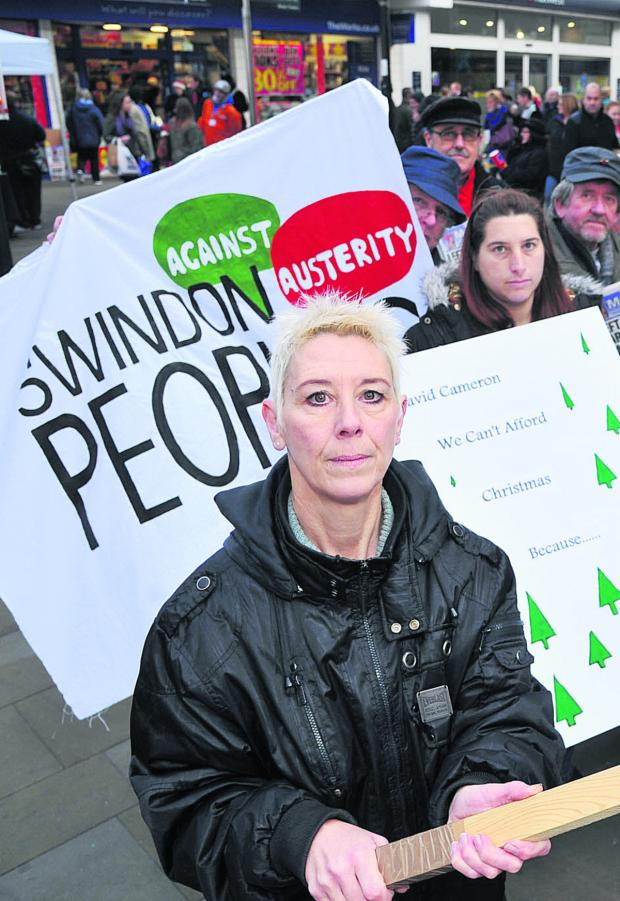 This Is Wiltshire: Kate Linnegar at an austerity protest last year