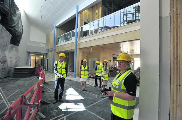 This Is Wiltshire: Council leader Jane Scott takes a look inside the atrium of Corsham's Springfield Campus