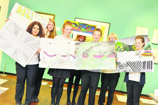 This Is Wiltshire: Commonweal School students displaying their artwork inspired by the Swindon Collection at Swindon Museum