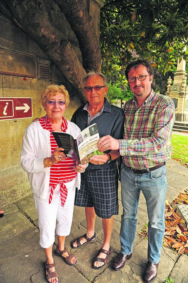 This Is Wiltshire: Lynne and Randy Grover with historian Jonathan Falconer; inset pilot officer Don Grover