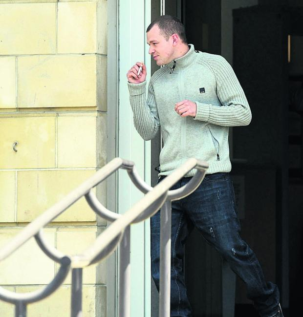 This Is Wiltshire: Toby Hayden back before the court on a charge of pushing his new girlfriend, who he was seeing after being convicted of the attack on Loretta Butterworth