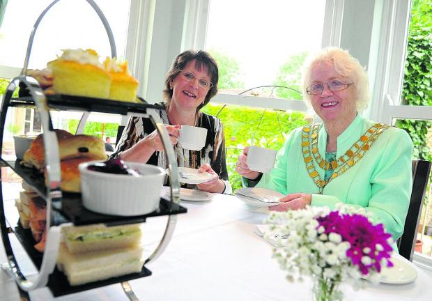 This Is Wiltshire: n Sue Higgs, the general manager of Chiseldon House Hotel, with mayor Teresa Page at the open day Picture: DAVE COX
