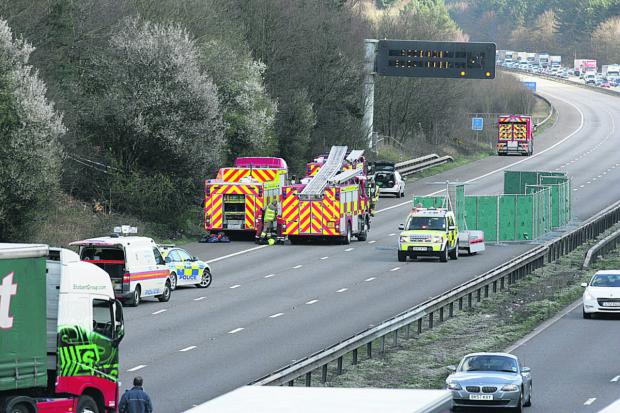 This Is Wiltshire: The scene of the accident on the M1 near Leicester