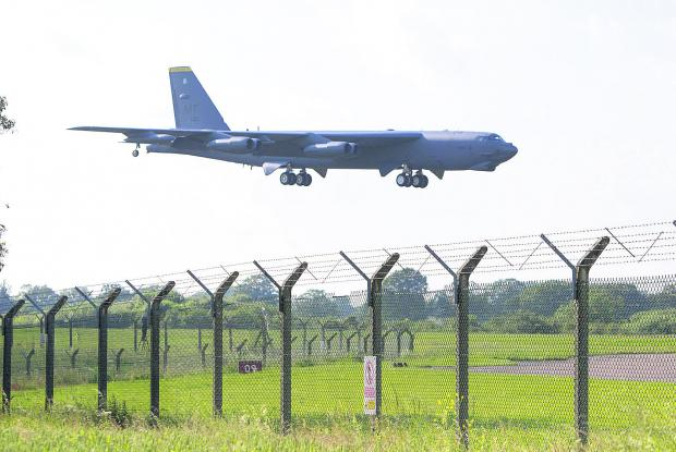 This Is Wiltshire: A B52 bomber lands at RAF Fairford