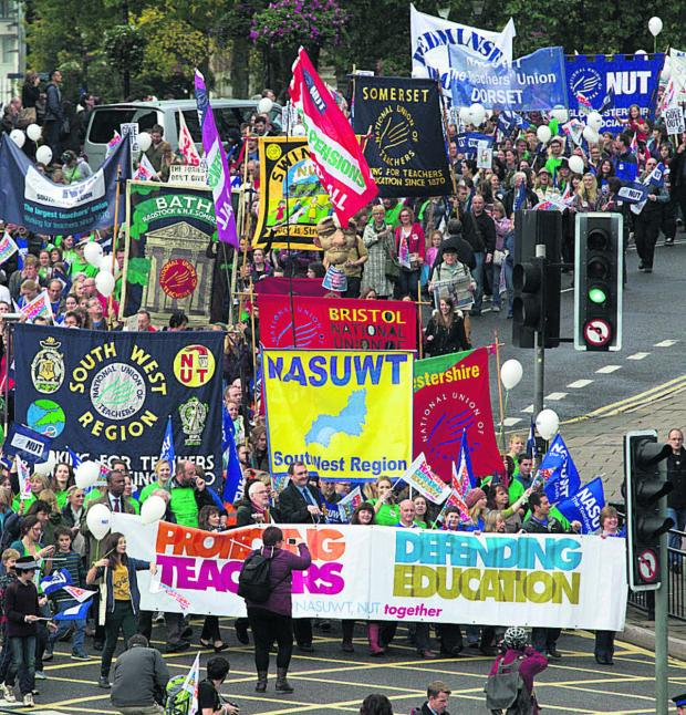 This Is Wiltshire: Teachers rally in Bristol during the strike in October last year