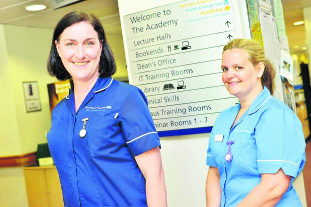 This Is Wiltshire: Course leader Claire Barker and nurse Chantel Otley. Picture: THOMAS KELSEY