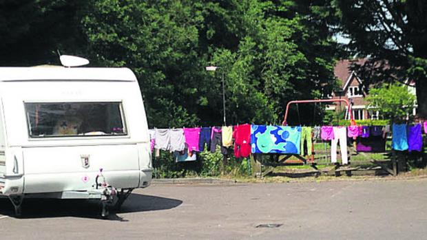 This Is Wiltshire: Irish travellers have set up camp in the Waitrose car park in Marlborough