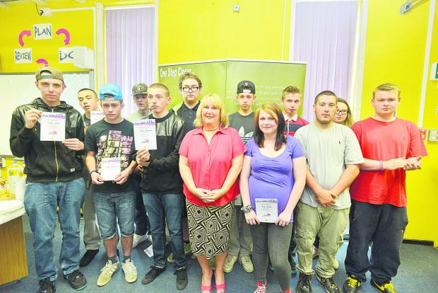 This Is Wiltshire: The students with their certificates. Picture: THOMAS KELSEY