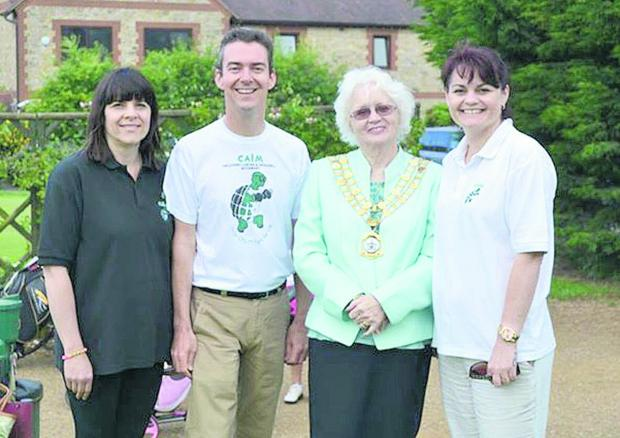 This Is Wiltshire: Helen Steward, Richard Crowley, mayor Teresa Page and Sam Goodchild at thecharity golf day in aid of CALM