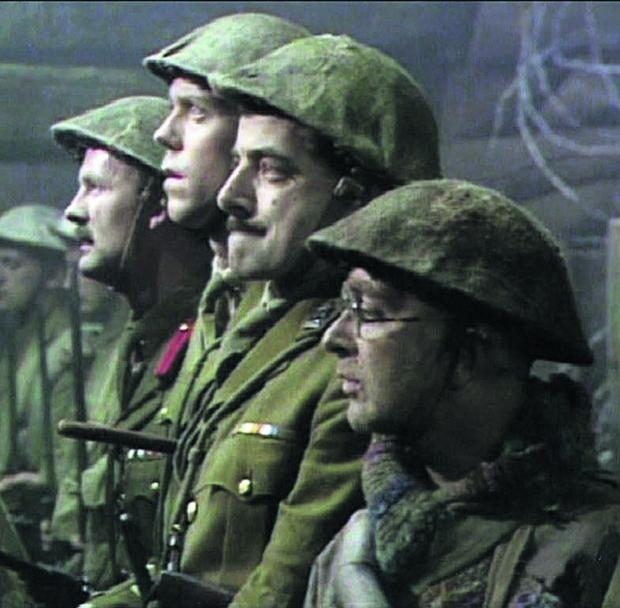 This Is Wiltshire: Tim McInnerny (Captain Darling), Hugh Laurie (Lieutenant George), Rowan Atkinson (Captain Blackadder) and Tony Robinson (Private Baldrick) in Blackadder Goes Forth