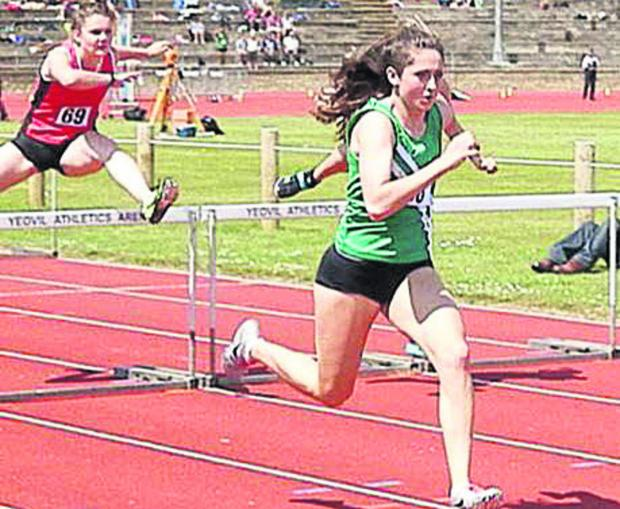 This Is Wiltshire: Devizes' Sophie Hay in senior girls' 100m hurdles action at the South West Schools' Track & Field Championships