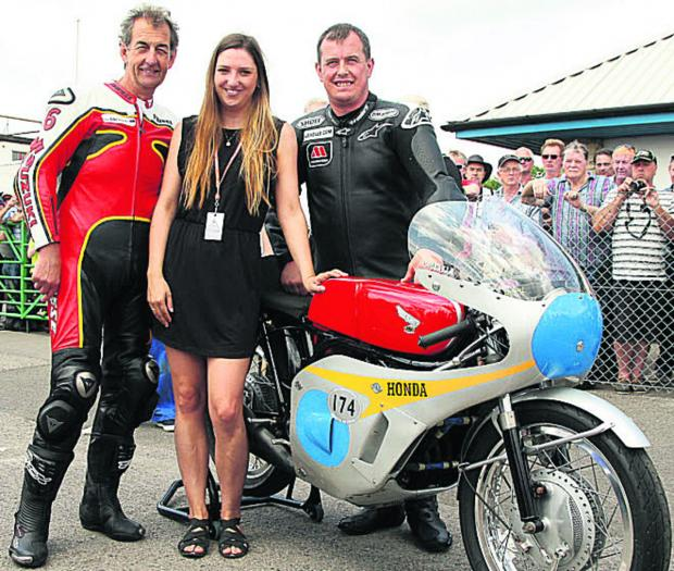 This Is Wiltshire: Pictured (l-r): John McGuinness, Emma Gooch and Steve Parrish, with the Honda 6