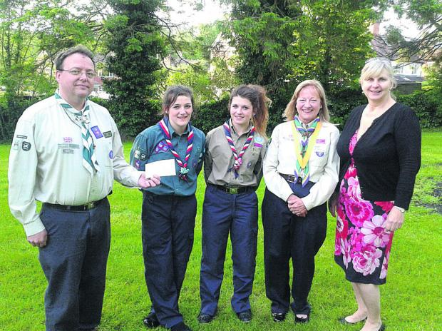 This Is Wiltshire: Scout Megan Hawkins, 13,second from left, will be jetting off to Japan. The St John's School student, of Ducks Meadow in Marlborough, will spend time with a Japanese family and visit Hiroshima                             (vs424) By vicky scipio