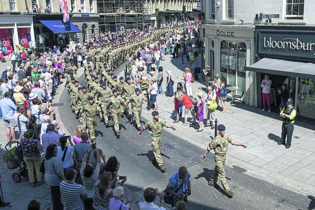 This Is Wiltshire: Lieutenant Colonel Adam Corkery leads the Regiment through Bath