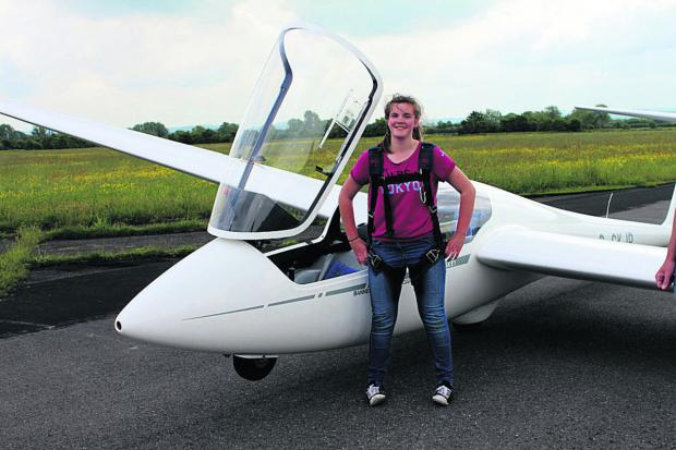 This Is Wiltshire: Sam Arnold, aged 14, after her first solo flight at Bannerdown Gliding Club at Keevil Airfield