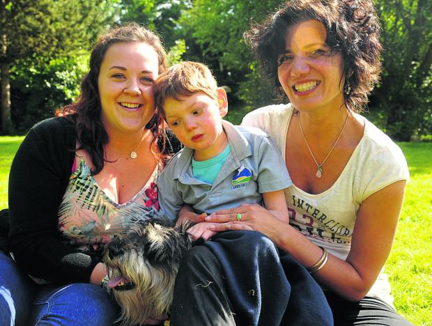 This Is Wiltshire: Jai Newmark with nanny Stacey Oliver, left, and his mother, Konnie Newmark