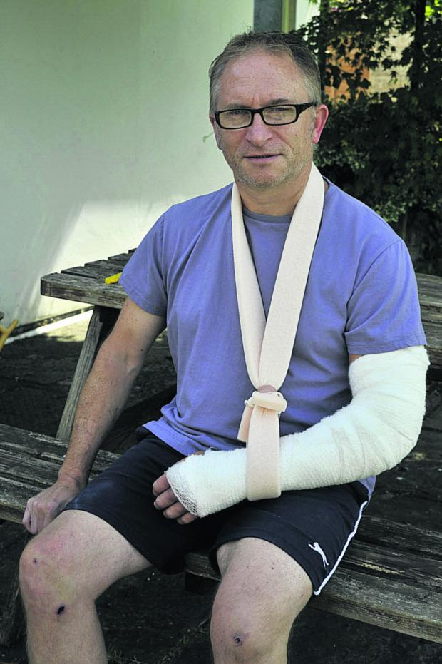 This Is Wiltshire: Gordon Sullivan recovers at home in Trowbridge after an accident in Westbury