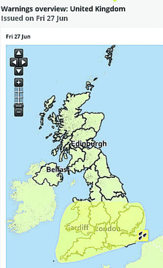 This Is Wiltshire: The weather warning map issued by the Met Office today