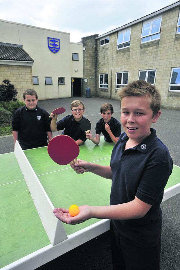 This Is Wiltshire: Pupils at St Laurence School Lewis, Josh, Ryan and Seb about to enjoy a game                     Photo Glenn Phillips (49523)