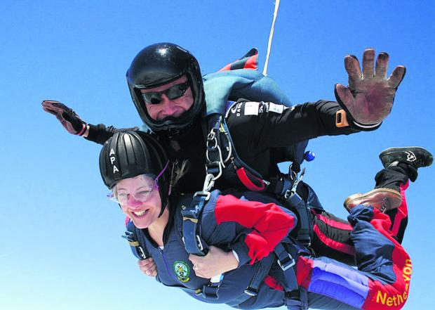 This Is Wiltshire: Liz Brooke during her skydive