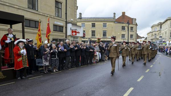 This Is Wiltshire: Lieutenant Colonel Paul Bates Commanding Officer 14 Regiment Royal Artillery based Larkhill, leads the parade