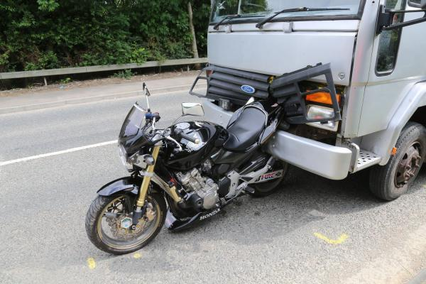 This Is Wiltshire: The accident scene involving a black Honda bike and a horsebox