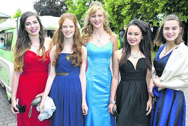 This Is Wiltshire: Augusta Trussell, Alice Palmer, Miranda King, Oceanne Chin and Gabrielle Barnett at the Malmesbury School Year 11 prom. Picture by Paul Stallard