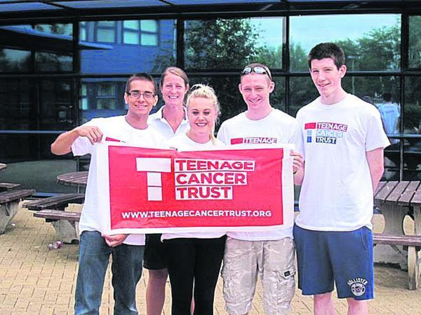 This Is Wiltshire: From left, Thomas Hawkins with Kristy Hinson, Louise Van der Sanden, Sean Houston and Josh Ayres, all from New College, who are raising money for the Teenage Cancer Trust by doing the Three Peaks Challenge