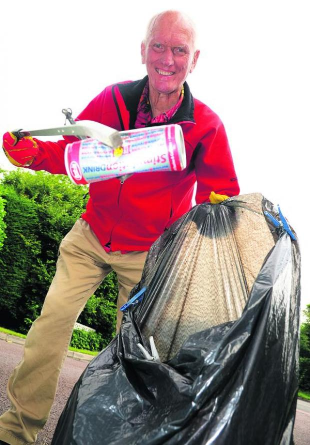 This Is Wiltshire: Brian Cavill is  a one-man neighbourhood litter-picking operation